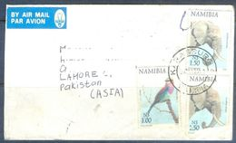 D595- Used Cover Post To Pakistan From Namibia. Birds. Animals. Elephant - Namibia (1990- ...)
