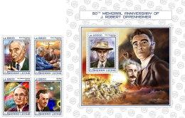 SIERRA LEONE 2017 ** Albert Einstein J. Robert Oppenheimer 4v+S/S - IMPERFORATED - DH1724 - Albert Einstein
