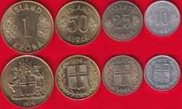 Iceland Set Of 4 Coins: 10 Aurar - 1 Krona 1967-1974 UNC - Islandia