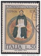 """1371 Italia 1974 """" Trionfo Di San Tommaso D'Aquino """" - Quadro Dipinto Da L. Memmi Viaggiato Used Gotico Paintings - Teologi"""