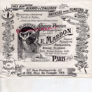 75- PARIS- RARE BUVARD E. MARDON-37 RUE PASTOURELLE-122 RUE DU TEMPLE-TABAC CIGARETTES-BIJOUTERIE ORFEVRERIE- - Tobacco