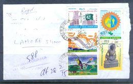 D635- Postal Used Cover Of Pakistan.Fish. Birds. Flag. Fasiting Buddha. - Pakistan