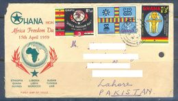 D636- Old & Rare Cover Of Ghana. Post To Pakistan. Flag. Joint Issue. - Ghana (1957-...)