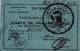 WW2- ETAT FRANÇAIS - Carte De PNEUMATIQUES Pour Bicyclettes Ou Vélomoteurs Pour MUTILé - - Documents Historiques