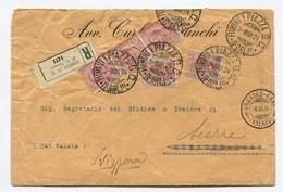 Italien Rimini 03-03-1924 R-Brief Nach Granges-Gare Weitergeleitet Sierre Mit Senkrechter 3er-Streifen  10C Und 85C (2) - 1900-44 Victor Emmanuel III
