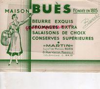 13 - MARSEILLE- BUVARD BEURRE MAISON MATHIEU BUES- MARTIN- 8 RUE VACON- LAITERIE FROMAGERIE LAIT CONSERVES SALAISONS - Alimentaire