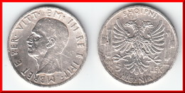 **** ALBANIE - ALBANIA - 5 LEK 1939R VITTORIO EMANUELE III - ARGENT - SILVER **** EN ACHAT IMMEDIAT !!! - Albania
