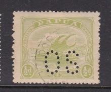 Papua SG O38 1911 Lakatoi Half Pence Yellow Green Perforated OS Used - Papua New Guinea