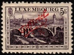 ~~~ Luxembourg 1922 - Official Sur 5 Francs  - Mi. 123 * MH - CV 45.00 Euro ~~~ - Dienst