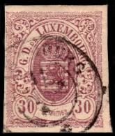 ~~~ Luxembourg 1859 - 30 Centimes Non Dentelee / Ongetand - Mi. 39 (o) - CV 280.00 Euro  ~~~ - 1859-1880 Wapenschild