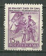 POLAND MNH ** 565 Congrès Des Postes Et Télécommunications Facteur Vélo - 1944-.... République