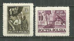 POLAND MNH ** 572-573 Anniversaire Du Premier Mai, Jeune Travailleur - 1944-.... République