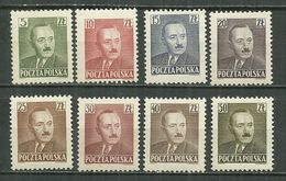 POLAND MNH ** 574-581 Président Boleslaw BIERUT Politique - 1944-.... République