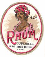Etiquette Rhum Supérieur, Société Lyonnaise Des Rhums, Lyon - Rhum
