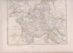 CARTE EMPIRE DE CHARLEMAGNE DRESSEE PAR L. DUSSIEUX 1852 - CARTE PARTAGE AU TRAITE DE VERDUN EN 843 - Carte Geographique