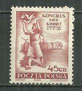 POLAND MNH ** 586 CONGRES DE LA LIGUE DES FEMMES Femme - 1944-.... Republiek