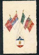 CPA - Drapeaux Alliés Réalisés Dans Les Timbres - Guerre 1914-18