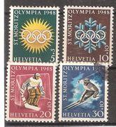SUISSE 1948, Jeux Olympiques Hiver St MORITZ Olympics ; Série 449 / 452 Neuve  * / Obl, HOCKEY TB , Cote 8 Euros - Winter 1948: St. Moritz