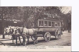 2 Cpa. Moyens De Transport. Omnibus à 2 Et 3 Chevaux. Passy/Bourse Et Menilmontant/Gare Montparnasse - Trasporto Pubblico Stradale