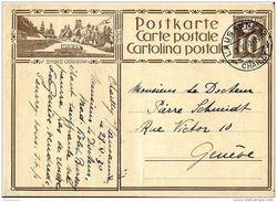 """V66 - Entier Postal Avec Illustration """"St-Moritz - Castasegna"""" 1930 - Attetnion Léger Li Vertical Au Milieu - Entiers Postaux"""