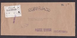 Iraq: Official Registered Cover Baghdad To Netherlands, Postal Service, R-label (minor Damage, See Scan) - Irak