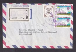 Iraq: Registered Airmail Cover To Switzerland, 3 Stamps, Petrol, Oil, Overprint, Relief, Censor, R-label (traces Of Use) - Irak