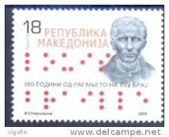 MK 2009-509 200A°LUIS BRAILLE, MACEDONIA, 1 X 1v, MNH - Macedonië