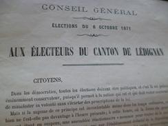 Affichette Conseil Général Aude élections 8/10/1871 Aux électeurs De Lédignan E.Claris - Documents Historiques