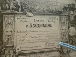 Lycée D'Angoulème Félicitations Bilbaut Belle Gravure Javanaud Baysse 22 X 18.3 1 Manque Haut Notes Manuscrites Au Dos - Diplômes & Bulletins Scolaires