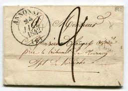 ARDECHE De ANNONAY LAC Du 23/01/1842 Avec Dateur T 13 + Taxe De 2 Pour TOURNON - Marcophilie (Lettres)