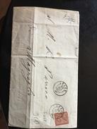 ANTICO PIEGO POSTALE -LECCO-29-9-1865-SPEDITA AL PARROCO DI MAGREGLIO-SERIE DE LA RUE CENT.2 - Storia Postale