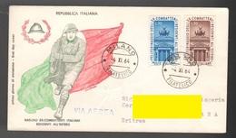 FDC Filagrano 1964 Ex Combattenti Residenti All'Estero Da 30 + 70 Lire - 6. 1946-.. Repubblica