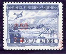 ALBANIA 1952 Airmail 2L. Surcharged 0.50 In Red MNH / **..  Michel 521 - Albania