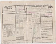 CORTESSEM-WINTERSHOVEN-DAELEINDE-HENRI DEWARIER-LOTJE VAN 5 BELASTINGSKOHIEREN-MARCOFILIE-MOOI EN ZELDZAAM! ! ! - Documents Historiques