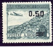 ALBANIA 1953 Airmail 5 L. Surcharged 0.50 In Black LHM / *..  Michel 523 - Albania