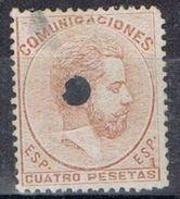 Sello Perforado Telegrafico 4 Pts Amadeo, Edifil Num  128 T º - 1872-73 Reino: Amadeo I