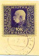 BOSNIA & HERZEGOVINA 1916  Franz Joseph 10 Kr. Used On Piece.  Michel 116 - Bosnia Herzegovina