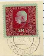 BOSNIA & HERZEGOVINA 1916  Franz Joseph 4 Kr. Used On Piece.  Michel 115 - Bosnia Herzegovina