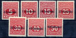 AUSTRIAN MILITARY POST In ITALY 1918 Postage Due Set Of 7 LHM / *.  Michel Porto 1-7 - Postage Due