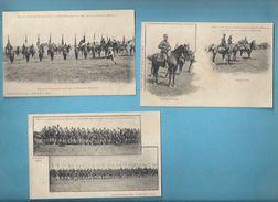 54 - MALZEVILLE - MILITARIA - 1906 - REVUE DU 20e CORPS PAR Gal BAILLOUD - LOT DE 3  CARTES - CAVALERIE, DÉCORATIONS, - Regiments