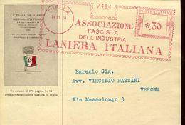 22638 Italia,  Red Meter/freistempel/ema/ Biella 1934 Associazione Fascista Industria Laniera Italiana,  Circuled Card - Machine Stamps (ATM)