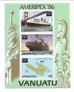 1986 Vanuatu Ameripex Ships Bridges  Map Miniature Sheet Of 3 MNH - Vanuatu (1980-...)