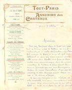 Facture  -    Tout Paris - Annuaire Des Chateaux              (69) - 1900 – 1949