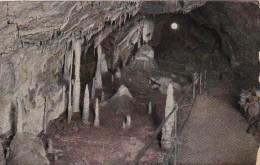 Germany Ruebeland im Harz Hermannshoehle Die Kanzel mit Denkmal