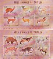 Stamps ERITREA 2001 SC 351-352 A:f WILD ANIMALS MNH SET 2 S/S LOOK - Eritrea