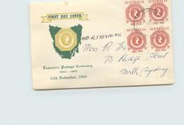 1953  Tasmanis Stamp Centenary - Block Of 4 - Royal Cachet -G.P.O. Sydney Vancel - FDC