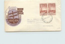 1954  Centenary Of Telegraph In Australia Pair- Royal Cachet - To Switzerland - FDC