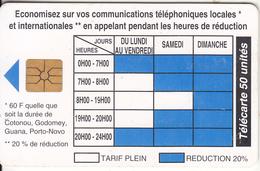 BENIN - Telephone Tariffs 1(50 Units), Chip GEM1.1, Tirage %40000, 09/96, Used - Benin