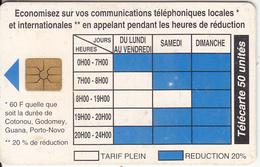 BENIN - Telephone Tariffs 1(50 Units), Chip GEM1.2, Tirage %40000, 09/96, Used - Benin