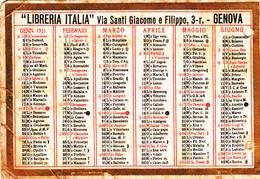 """Calendarietto Del 1931-Pubblicità_Advertising_""""Libreria Italia""""-Genova - Tamaño Pequeño : 1921-40"""